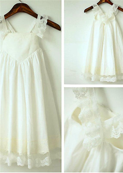 Aprildress Chiffon Lace Short Flower Girl Dresses First Communion Dress ASD053
