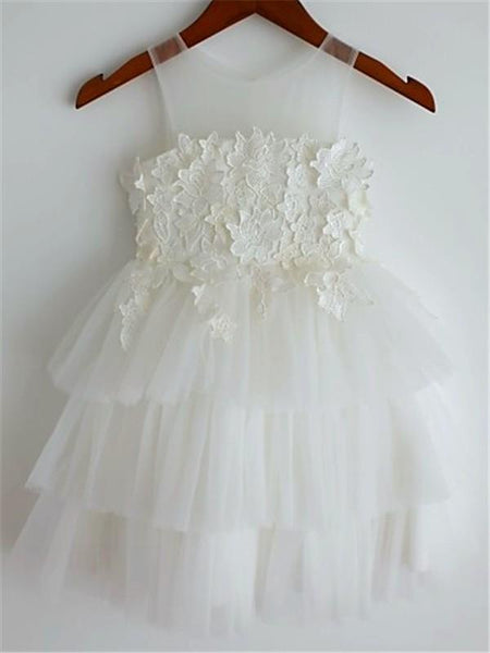 Aprildress White Ivory Short Flower Girl Dress Tutus Tiered Skirt Baby Ball Gown ASD063