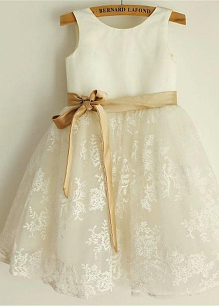 Aprildress Short Lace Flower Girl Dress with Gold Sash Baby Princess Party Ball Gown ASD064