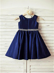Short Navy Flower Girl Dress Baby Kids Birthday Party Ball Gown ASD071