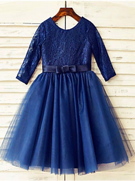 Navy Lace Tulle Short Flower girl Dress Tutus with Long Sleeve ASD074