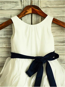 White Ivory Short Flower Girl Dress Tutus with Navy Sash ASD076