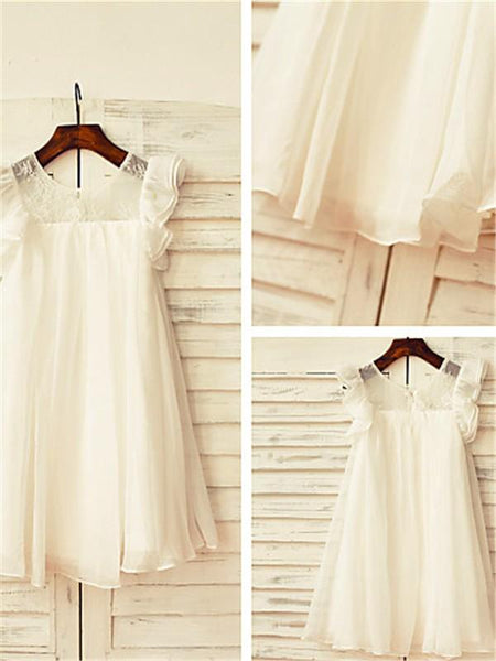 Aprildress White Ivory Short Flower Girl Dress Holy First Communion Dresses ASD079