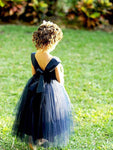 Aprildress Navy Short Backless Flower Girl Dress Tutus with Big Bow Sash ASD088