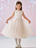 Aprildress Ivory Champagne Lace Tulle Short Flower Girl Dress Kids Ball Gown ASD092