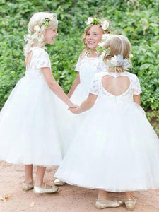 Short Lace Tulle Backless Flower Girl Dresses with Short Sleeve ASD095