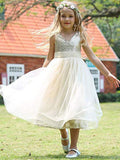 Aprildress Gold Sequins Short Flower Girl Dresses ASD099