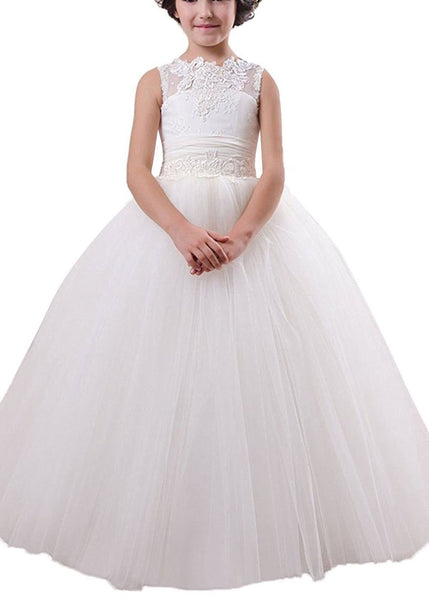 Aprildress Country White Ivory Flower Girl Dresses A Line First Communion Dress MFD003