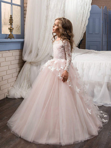 Long Sleeve Lace Pink Flower Girl Dresses Girls' Pageant Dress for Teens MFD119