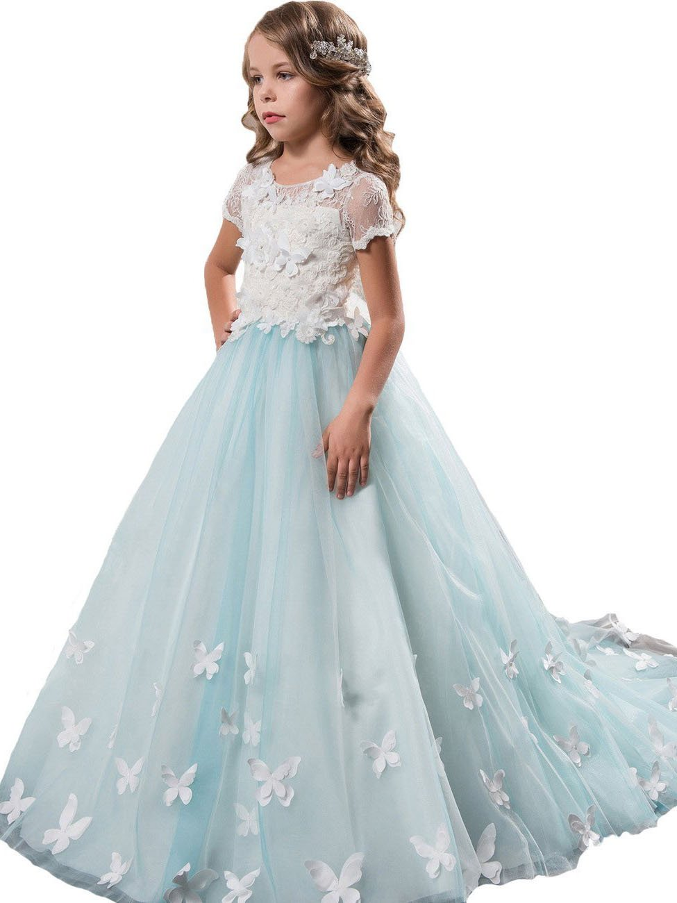 Stunning Lace White Blue Flower Girl Dresses with Butterfly Girls' Pageant Dress MFD120