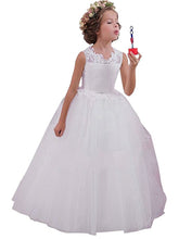 Round Neck A Line White Ivory Flower Girl Dresses First Communion Dress PFD036