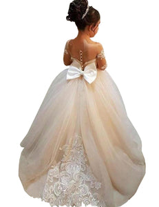 Lace Long Sleeve Flower Girl Dress with Beautiful Train Princess Pageant Dress PFD134