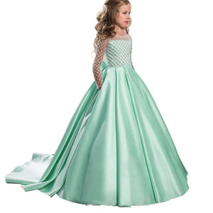 Long Sleeves A Line Satin Lace Flower Girl Dresses Kids Pageant Dress Princess Gown PFD135