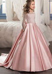 Aprildress Long Sleeves A Line Satin Lace Flower Girl Dresses Kids Pageant Dress Princess Gown PFD135