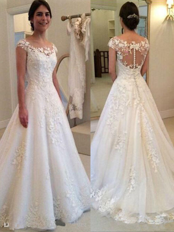Vintage Lace Appliques Wedding Dress Sheer Back Cap Sleeves Bridal Gown  WD303