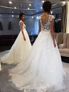 Scoop Neck  Applique A Line Sleeveless Illusion Wedding Dresses with Back Buttons WD308