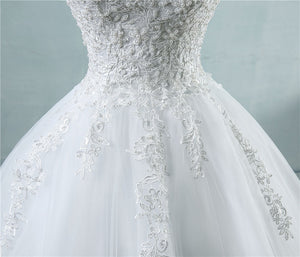Ball Gowns Spaghetti Straps Tulle Wedding Dresses Pearls Bridal Dress WD315