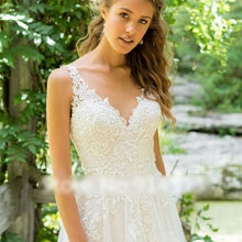 V Neck A-Line Wedding Dress Top Lace Appliques Bridal Gown with Sweep Train WD325