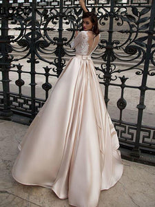 Elegant Champagne Lace Satin A Line Wedding Dress Bridal Gown with Buttons WD329