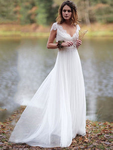 V-Neck Cap Sleeves Boho Lace Wedding Dresses Summer Beach Bridal Gown WD330