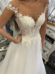Shear Top Lace Tulle Appliques Wedding Dress Bridal Gown WD331