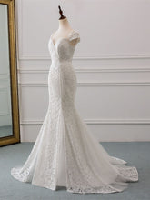 Cap Sleeve Lace Mermaid Wedding Dress Bridal Gown with Train WD332