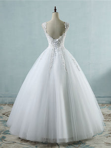 Tulle Appliques Ball Gown Wedding Dresses Pearls Bridal Gown WD339