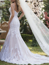 Lace Mermaid Wedding Dresses Pearls Spaghetti Straps Bridal Gown WD340