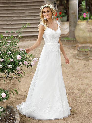 Lace A Line Beach Boho Wedding Dresses Shear Back Buttons Bridal Gown WD341