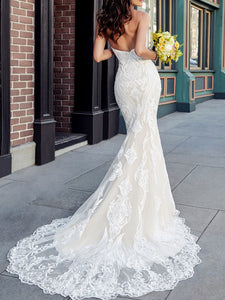 Vintage Sweetheart Mermaid Lace Wedding Dress Bridal Gown WD342