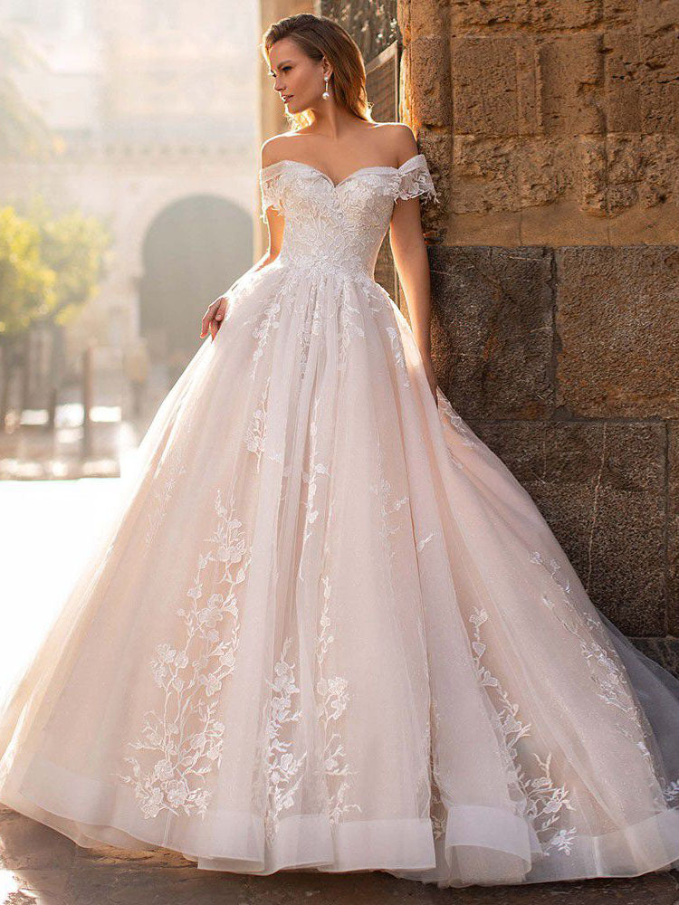 Luxury Champagne Off-the-Shoulder Lace Appliques Wedding Dresses WD343