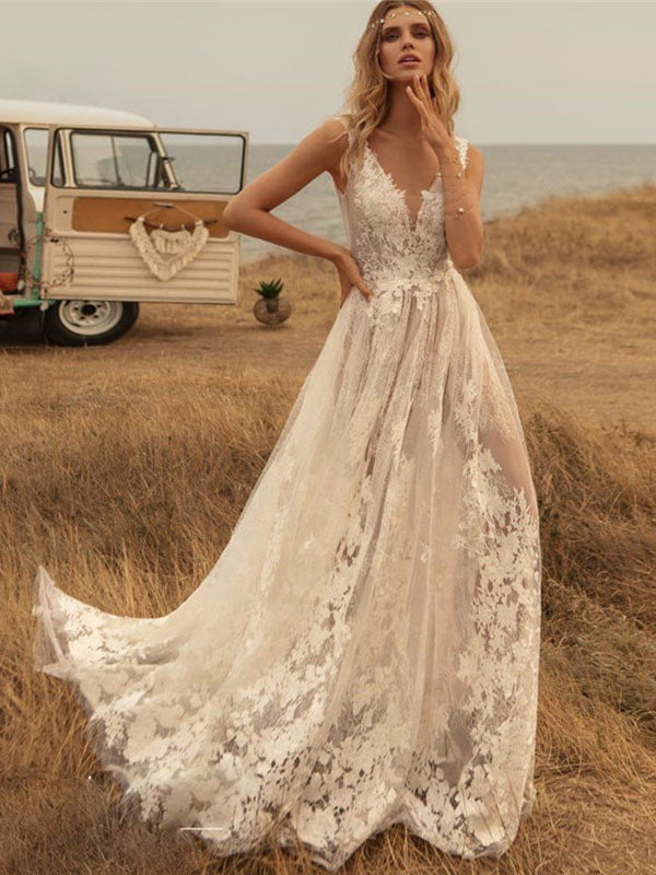 Deep V Neck Boho Wedding Dresses Country Lace Appliqued Backless Bridal Gown WD346