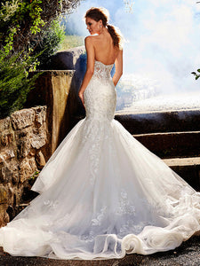 Luxury Beading Crystal Lace Appliques Backless Mermaid Wedding Dress Bridal Gown WD348