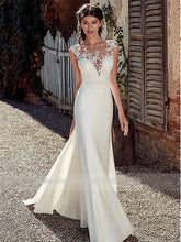 Modest Soft Satin Bateau Neckline Mermaid Wedding Dresses Illusion Back Lace Appliques Bridal Gown WD351