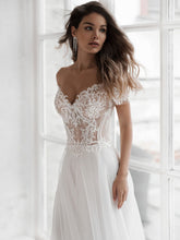Off The Shoulder Sheer Top Wedding Dress Sexy Lace Tulle Bridal Gown WD354