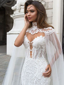 Sexy Lace Mermaid Wedding Dresses Bridal Gown With Tulle Shawl WD356