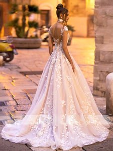 Sexy Romantic Lace Appliques Wedding Dress Off the Shoulder Backless Bridal Gown WD357