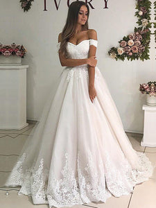 Vintage Off the Shoulder Sweetheart Wedding Dresses Lace Appliques Bridal Gown WD358