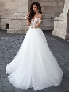 Sexy Lace Tulle Appliques Long Sleeve Wedding Dress Illusion Backless Bridal Gown WD359