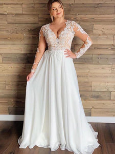 Plus Size Sexy V Neck Wedding Dresses Chiffon Long Sleeve A Line Lace Bridal Gowns WD363