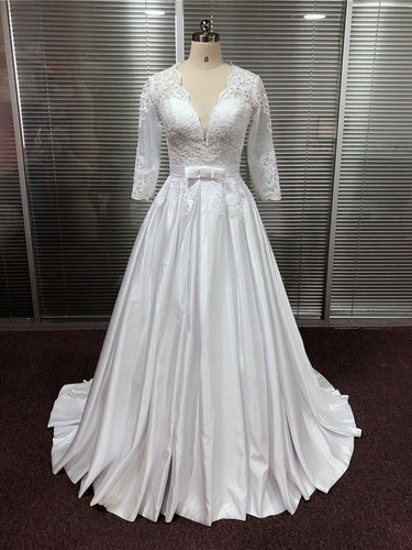 Satin Deep V-Neck A-Line Wedding Dresses With Lace Appliques Half Sleeves Bridal Dress WD366