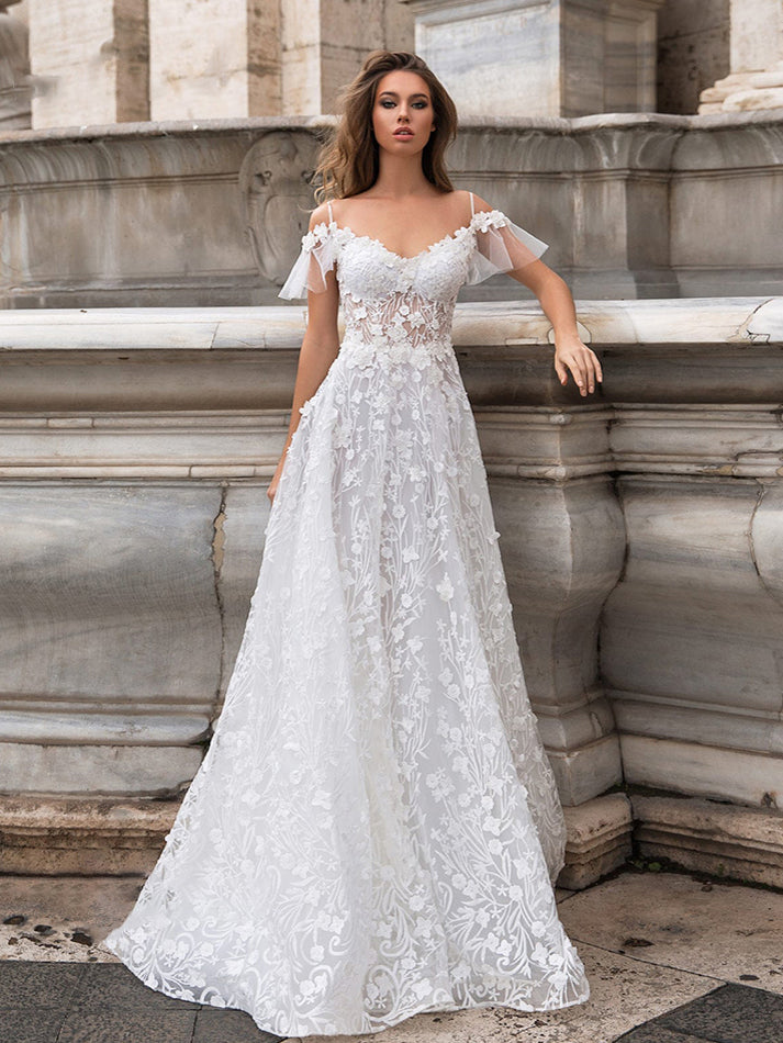 Sexy Sheer Lace Top Backless Wedding Dresses V Neck Spaghetti Straps Bridal Gown WD367