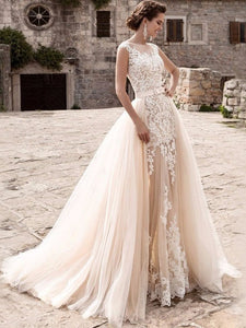 Champagne Lace Tulle Mermaid Wedding Dresses Detachable Train Bridal Gown WD368