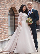Plus Size Long Sleeve Lace Appliques Wedding Dresses Bridal Gown with Sweep Train WD369