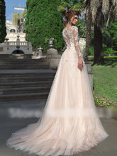 Sexy Long Sleeves Lace Tulle  Appliques Wedding Dresses Bridal Gown with Back Buttons WD370