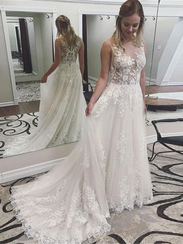 Sexy Scoop Neck Sheer Top Lace Tulle Appliques A-line Wedding Dresses Bridal Gown with Back Button WD371
