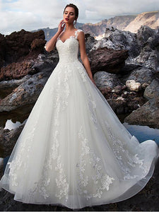 V-neck Lace Tulle Applique A-line Wedding Dress Bridal Gown WD372