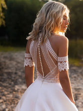 Bohemian Wedding Dresses Sexy Lace Satin  A-Line Bridal Gown with Back Button WD373