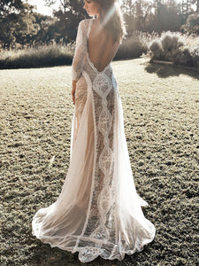 Sexy Lace Bohemian Wedding Dress Stretchy Long Sleeve Open Back Boho Chic Chiffon Bridal Gown WD374