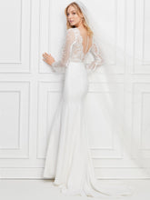 Sexy Sheer Back Mermaid Wedding Dresses Lace Long Sleeves Bridal Gown WD378